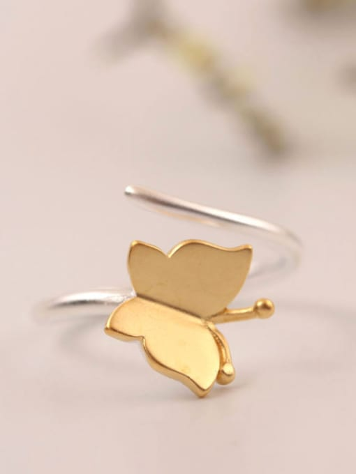 SILVER MI Two Color Plated Butterfly Opening Ring