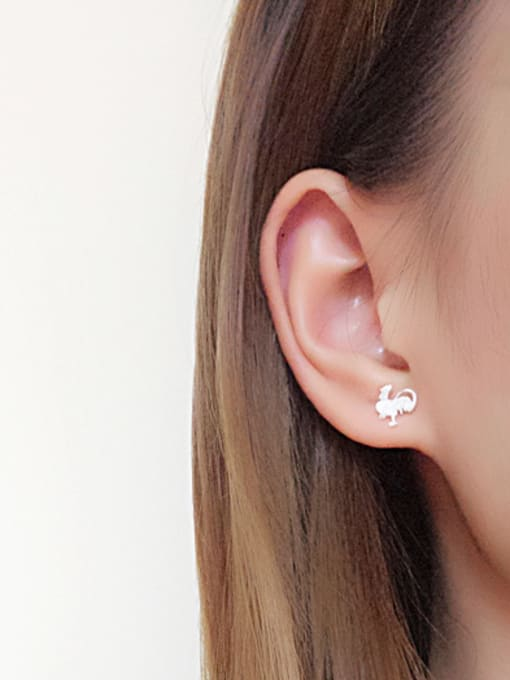 Peng Yuan Personalized Rooster Silver stud Earring 1