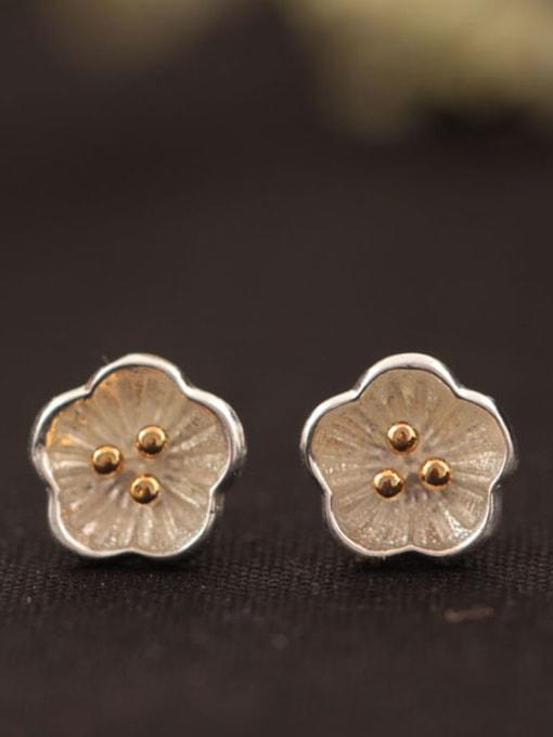 SILVER MI Lovely Plum Blossom Stud Earrings