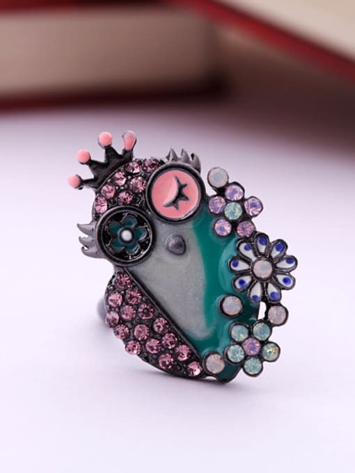 Blue Cartoon Owl Women Alloy Statement Ring