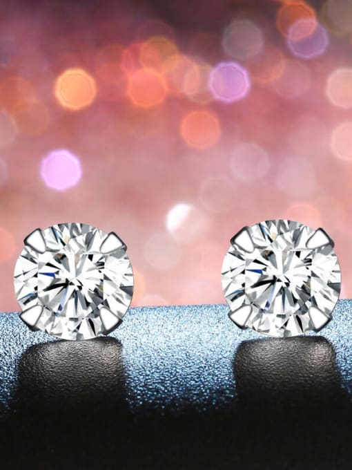One Silver 2018 925 Silver Round Shaped Zircon stud Earring 3