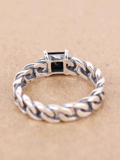 Peng Yuan Personalized Black Zircon Chain Ring 2
