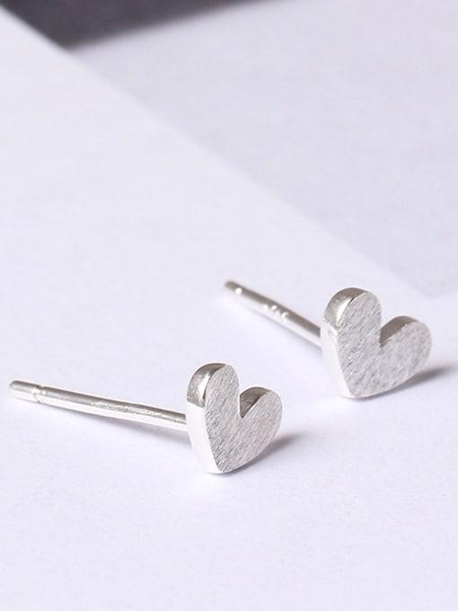 SILVER MI Heart-shape Women stud Earring 2