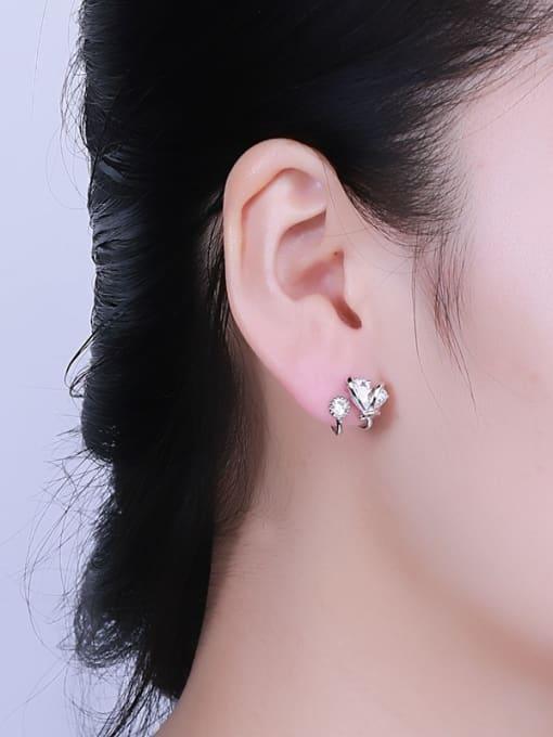 One Silver All-match Geometric Shaped Zircon stud Earring 1