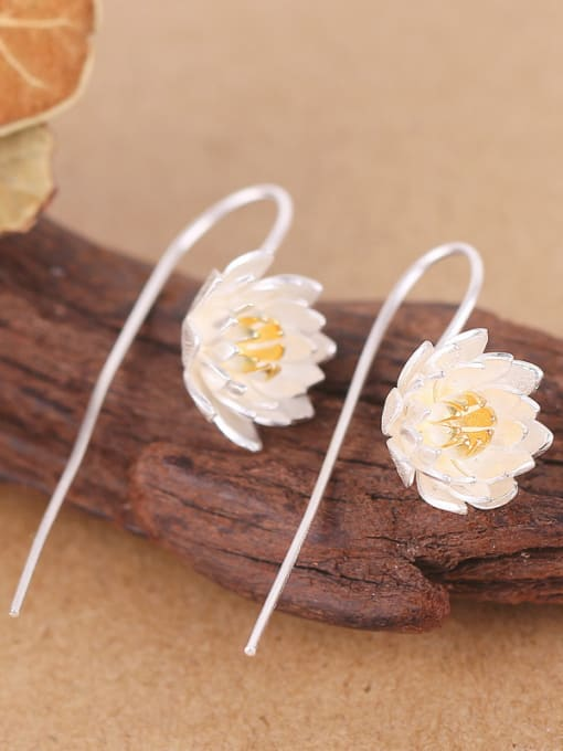 Peng Yuan Ethnic Lotus Flower Silver hook earring 1