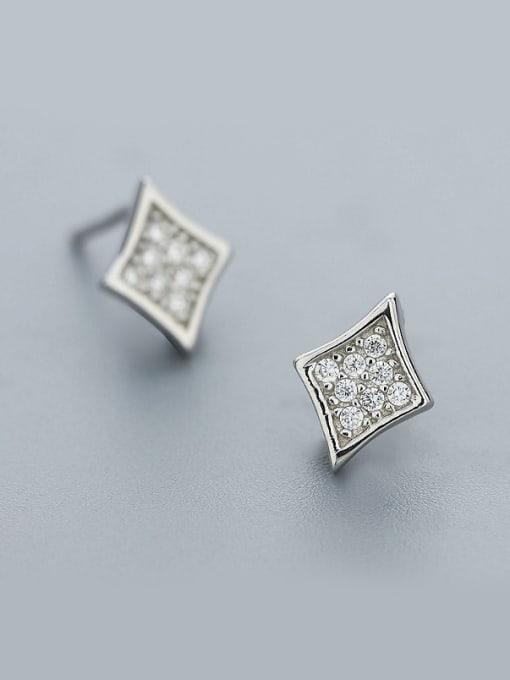 One Silver 925 Silver Diamond Shaped Earrings 0