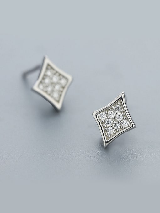 One Silver 925 Silver Diamond Shaped Earrings