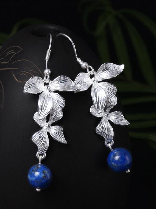SILVER MI Flower Elegant Women Drop hook earring 1