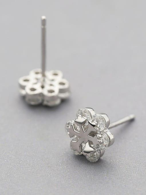 One Silver Trendy Snowflake Shaped Stud Earrings 2