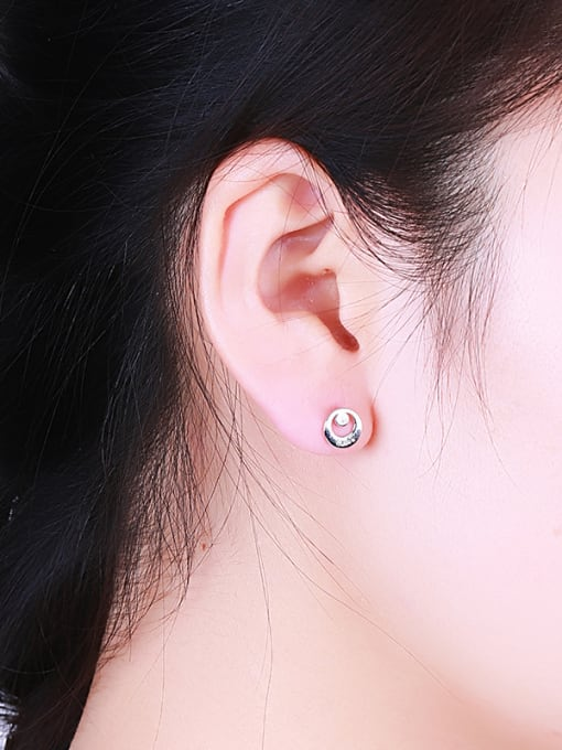 One Silver Simply Round Shaped Stud Earrings 1