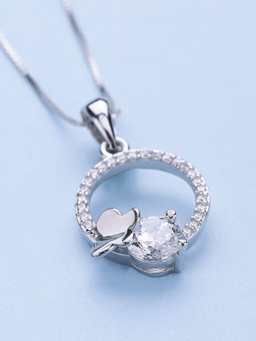 One Silver Women Round Shaped Zircon Pendant 3