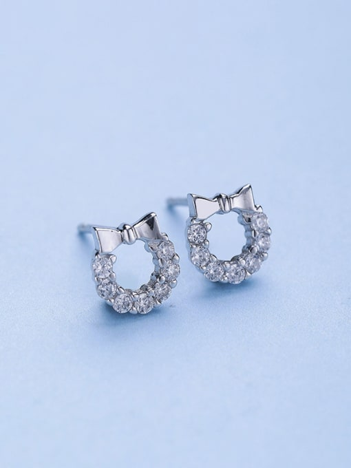 One Silver 925 Silver Bowknot Shaped stud Earring 0