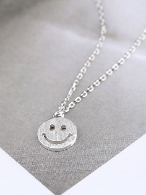 Peng Yuan Tiny Smiling Face Silver Necklace