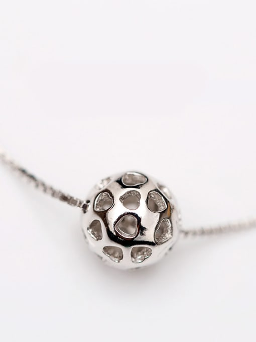 Peng Yuan Simple Hollow Bead Silver Anklet 1