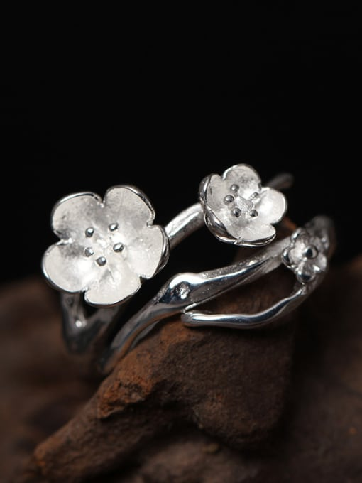 SILVER MI Beautiful Flower Silver Opening Ring 2