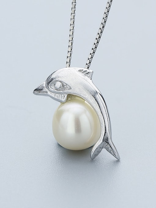 One Silver Dolphin Shaped Freshwater Pearl Pendant