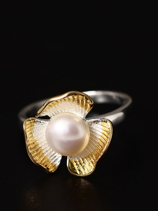 SILVER MI Color Plated Freshwater Pearl Open Ring
