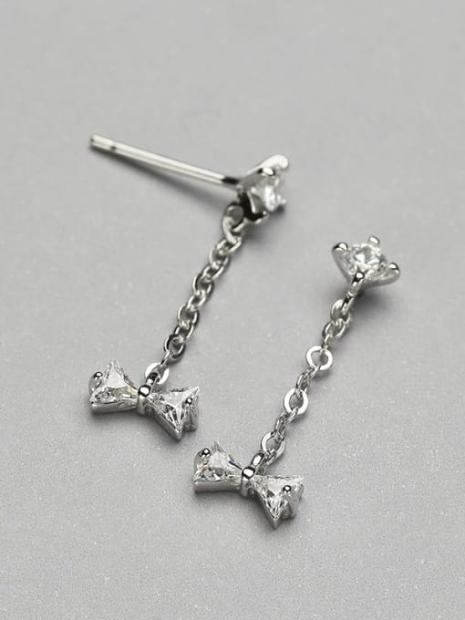 White 925 Silver Bowknot Shaped threader earring