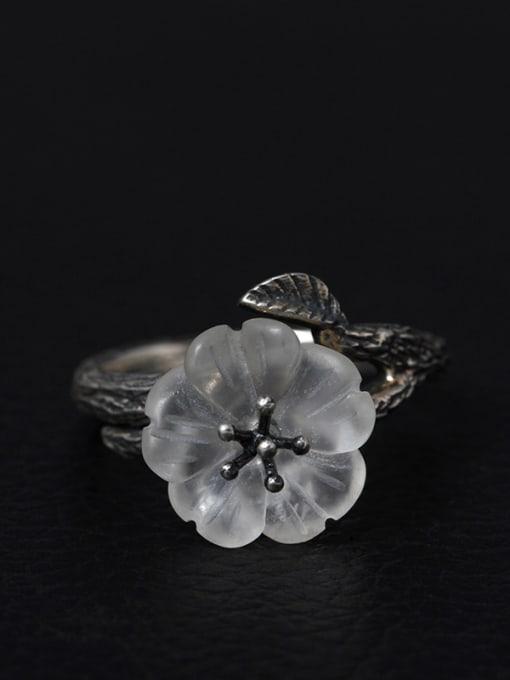 grey Flower -shape High Quality Women Ring