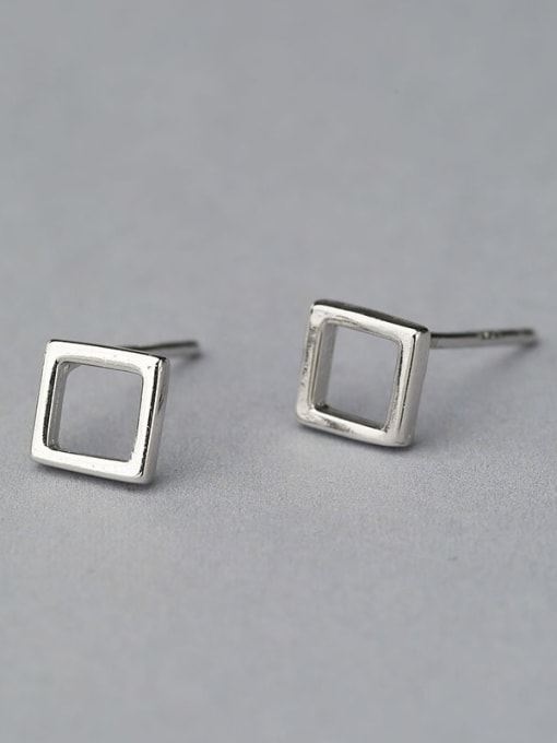 One Silver Natural Style Square Shaped stud Earring 0