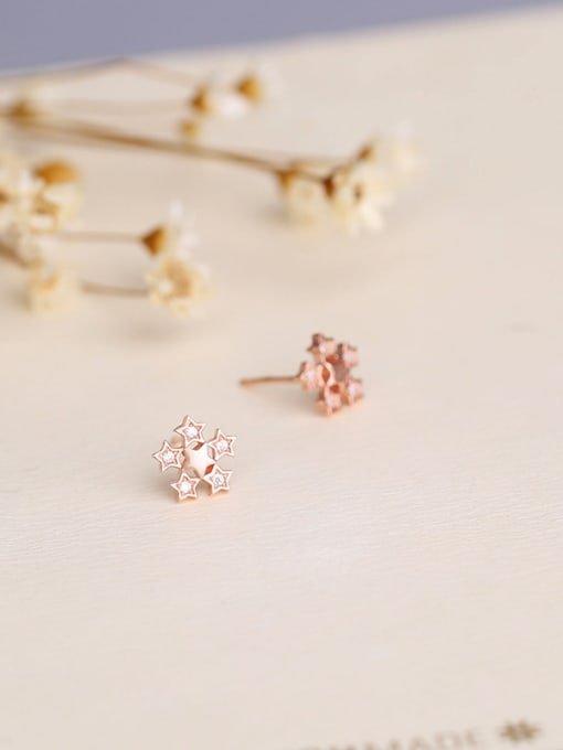 One Silver Rose Gold Plate Flower stud Earring 2