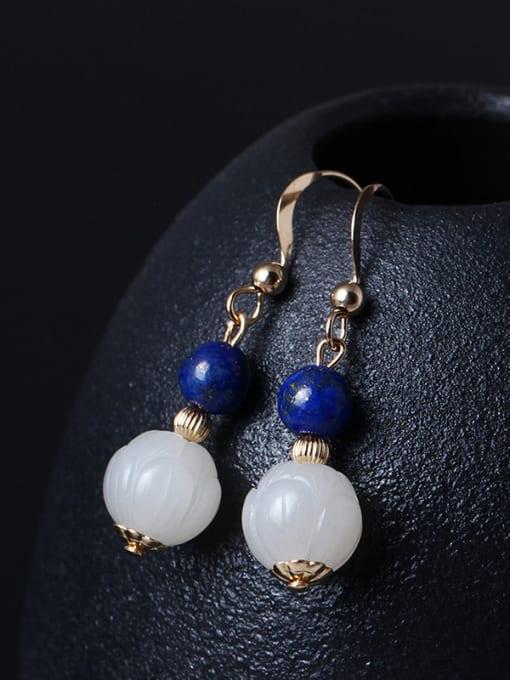 SILVER MI Noble Lotus Jade Drop Earrings