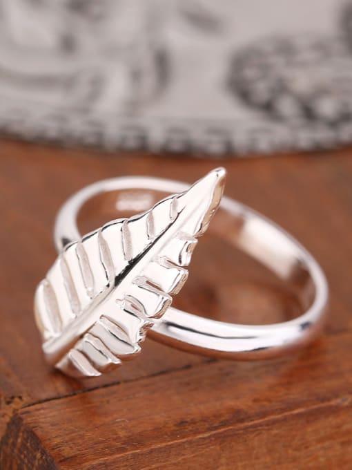 Peng Yuan Simple Leaf Silver Women Ring 2