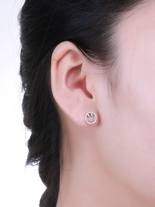 One Silver 925 Silver Smiling Face stud Earring 1