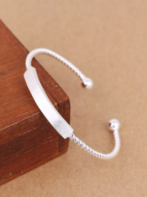 Peng Yuan Simple Twisted Silver Opening Bangle 2
