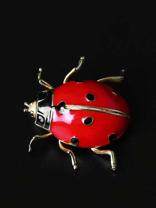 SILVER MI Color Enamel Insect Personality Brooch 1