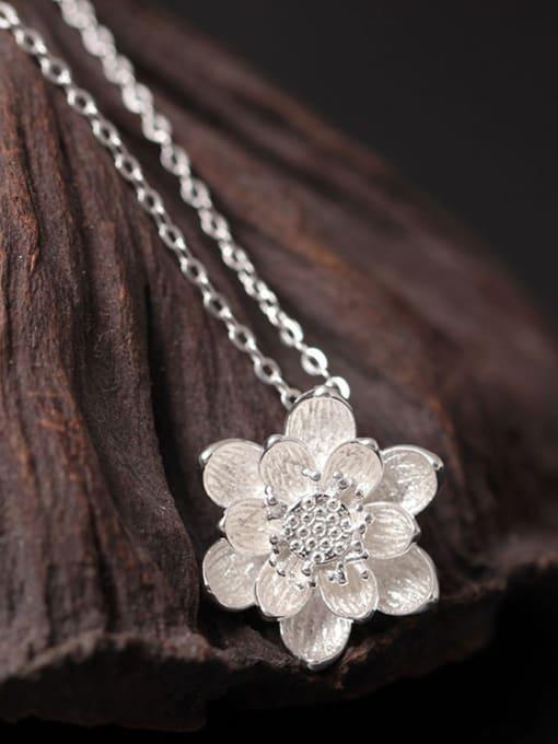 SILVER MI Lotus Flower Women Clavicle Necklace 1