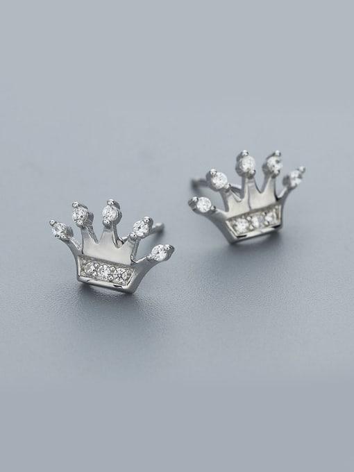 One Silver 925 Silver Crown Shaped Zircon Earrings 0