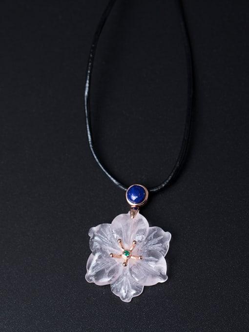 SILVER MI Flower Pendant Women Sweater Necklace 0
