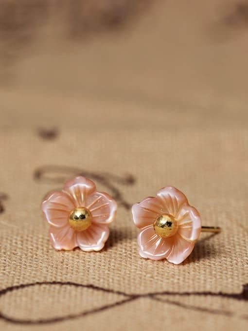 SILVER MI S925 Silver Shell Flower stud Earring 0