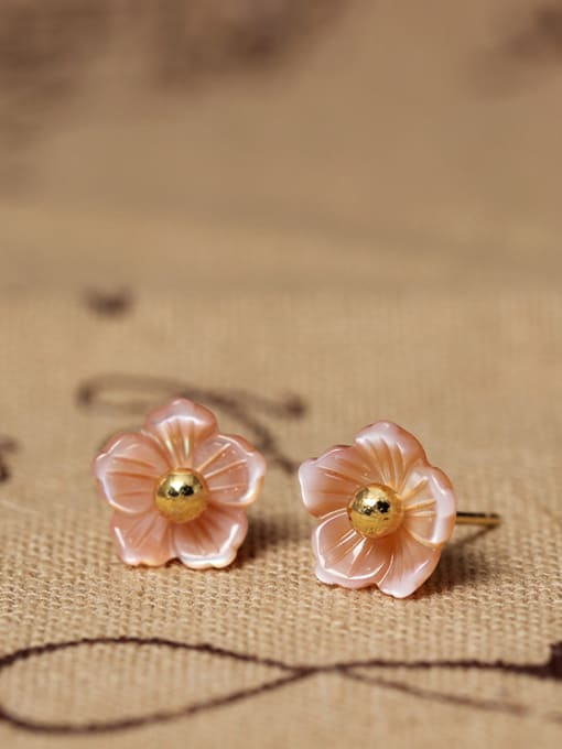 SILVER MI S925 Silver Shell Flower stud Earring