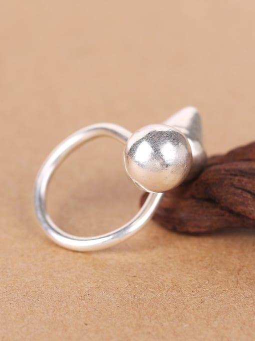 Peng Yuan Geometrical Handmade Silver Opening Ring 2