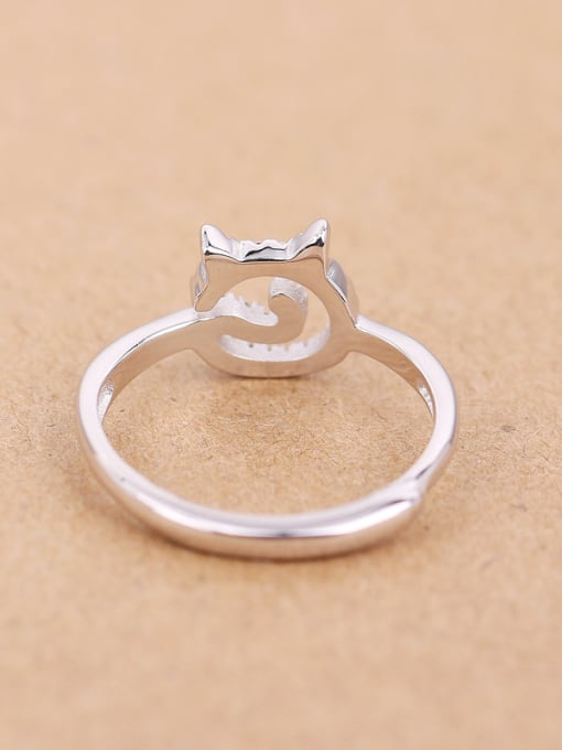 Peng Yuan Lovely Cat Rhinestones Silver Midi Ring 2