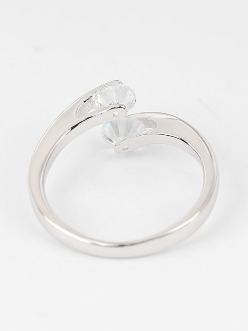 Peng Yuan Simple Zircon Silver Opening Ring 2
