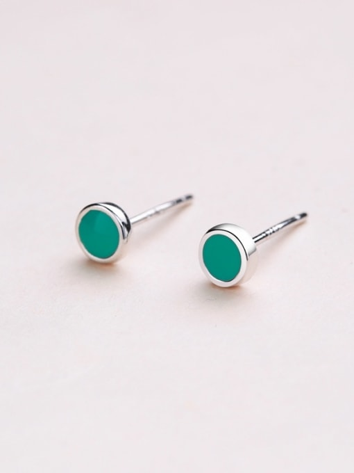 One Silver Fresh Round Shaped stud Earring 2