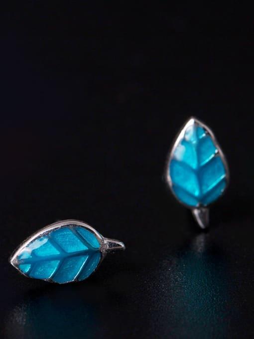 SILVER MI Blue Fresh Leaves-shape stud Earring 1