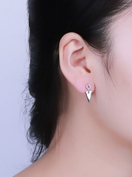 One Silver Exquisite Triangle Shaped Zircon drop earring 1