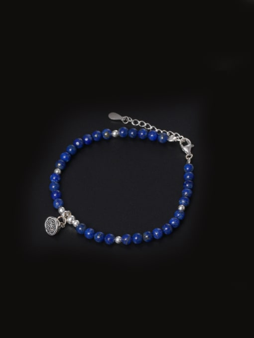 SILVER MI National Style Natural Lapis Lazuli Bracelet 0