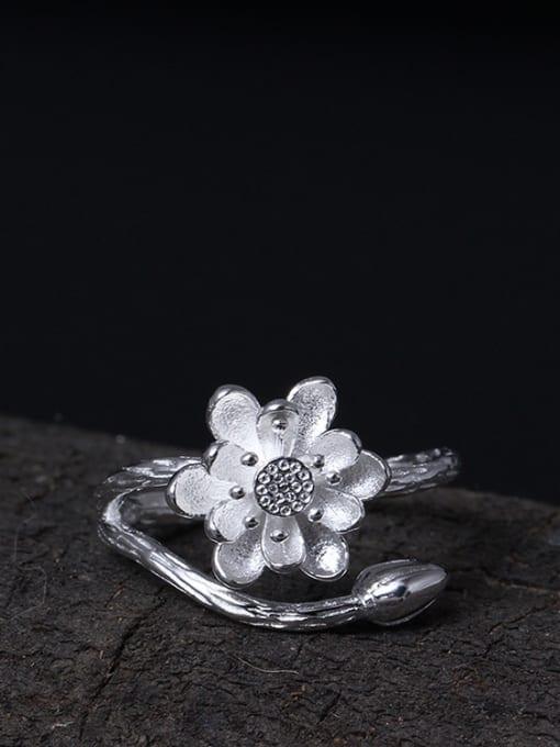 SILVER MI Lotus Flower-shape Opening Ring 1