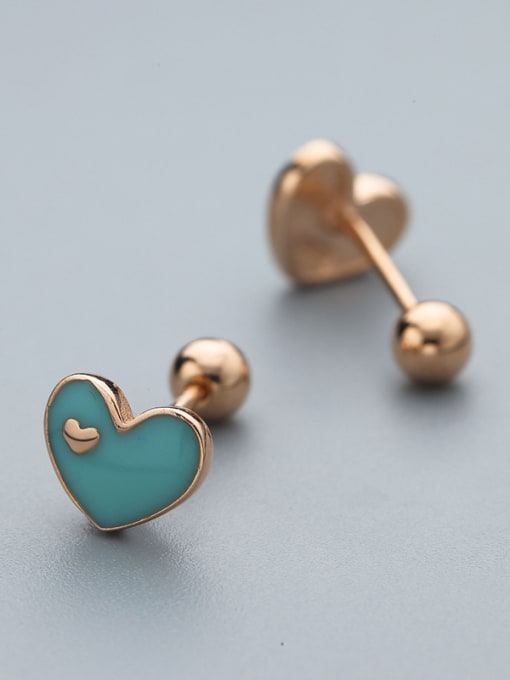 One Silver Rose Gold Plated Heart Shaped stud Earring