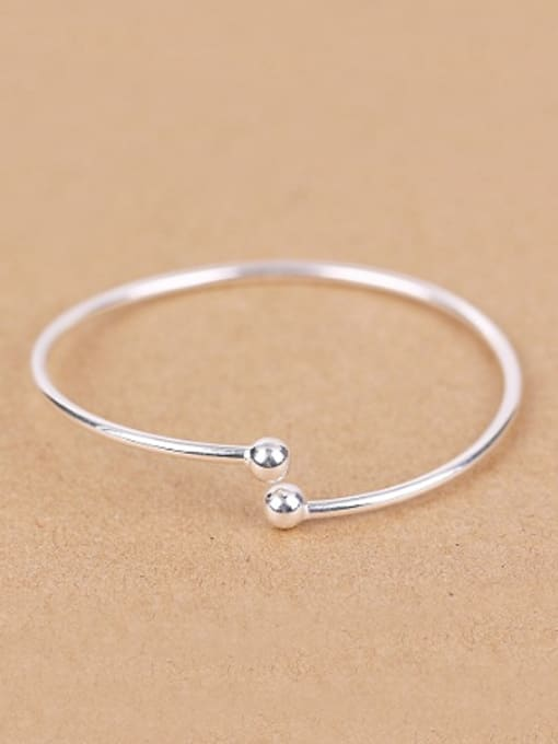 Peng Yuan Simple Smooth Silver Opening Ring