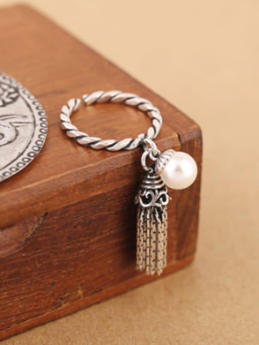 white Freshwater Pearl Garnet Tassels Opening Ring