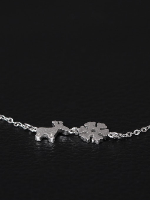 SILVER MI Christmas Snowflake Deer Clavicle Necklace 1