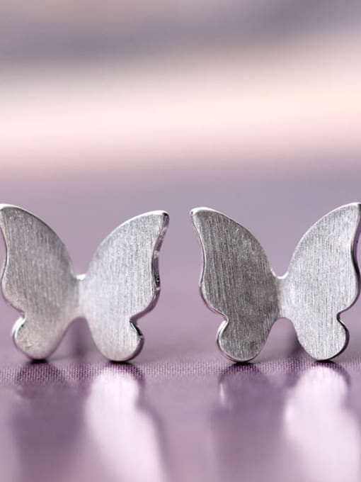 SILVER MI Creative Butterfly Matt Stud Earrings 0