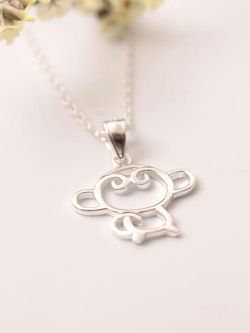 SILVER MI Lovely Monkey Silver Clavicle Necklace 1