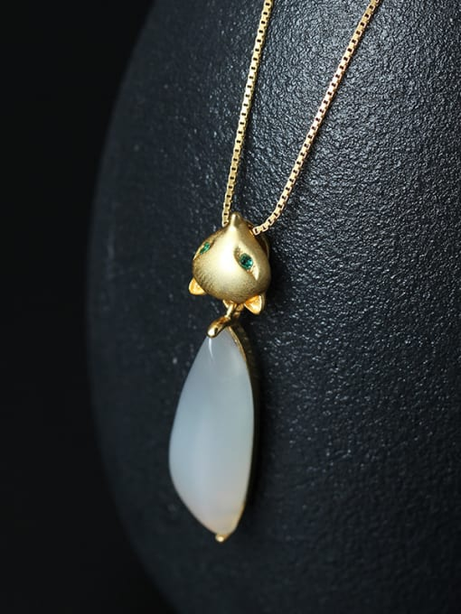 SILVER MI Gold Plated Natural Stone Fox -shape Necklace